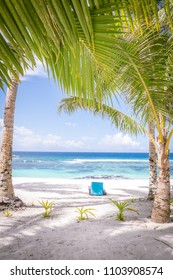 Looking through tropical palm trees on a white sand beach with a sun lounger for relaxation on a sunny day towards the South Pacific Ocean. Photographed on Upolu Island, Western Samoa