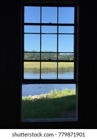 Looking through a window at a river in Charleston
