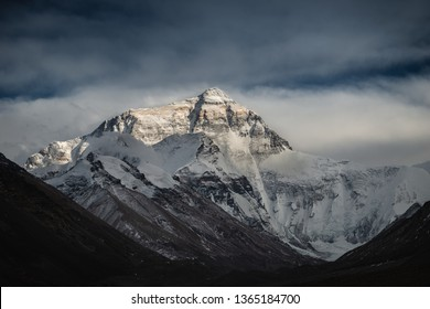 Looking toward the north face of Mount Everest from base camp in Tibet.