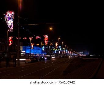 Looking toward the south shore at Blackpool Illuminations