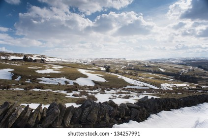 Looking towards Allendale Common in Northumberland, England, during a cold spring time.