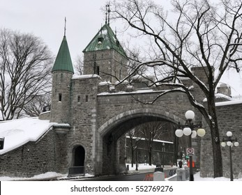 Looking towards Fortifications of Quebec Artillery Park in Quebec City, Canada