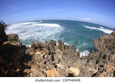 Looking towards Indian ocean from southern cliffs of Jogjakarta region.