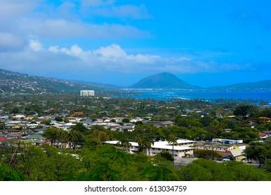 Looking towards Kaneohe from Diamond Head Lookup, Oahu, Hawaii