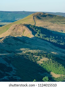 Looking towards Lose Hill and Back Tor from Mam Tor in the Peak District. The path from the Great Ridge is leading the viewer towards the peak.