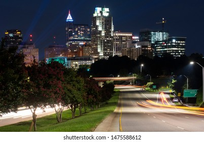 Looking towards the skyline of downtown Raleigh at blue hour