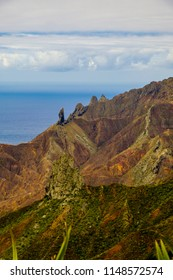 Looking towards South Atlantic Ocean over unusual volcanic features of Sandy Bay area of St Helena Island including geological pillar landmarks of Lot and Lots Wife