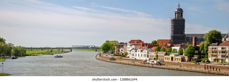 Looking towards the town of Deventer (Overijssel, The Netherlands). The city is largely situated on the east bank of the river IJssel and was once part of the Hanseatic league
