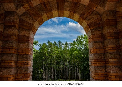 Looking at trees through an arch