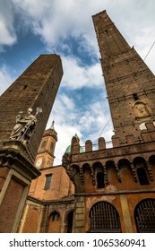 Looking up at the two towers of Bologna in northern Italy