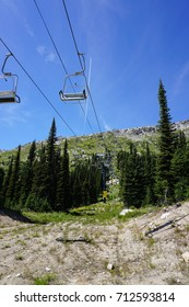 Looking uphill under a ski lift in the summer
