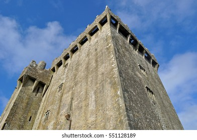 Looking Upward at the Tower of Blarney Castle and Gardens on a Sunny Day in Ireland - County Cork