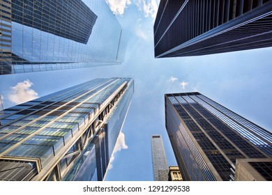 Looking up view of skyscrapers in downtown New York