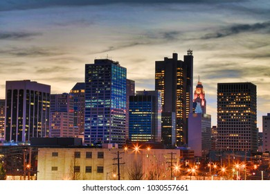 Looking west at the Columbus, Ohio downtown skyline cityscape.
