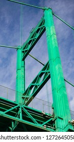 Looking up at the west tower of the Vincent Thomas Suspension Bridge across the Port of Los Angeles main channel, 365 feet high.