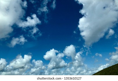 Looking up a white puffy clouds in a blue sky