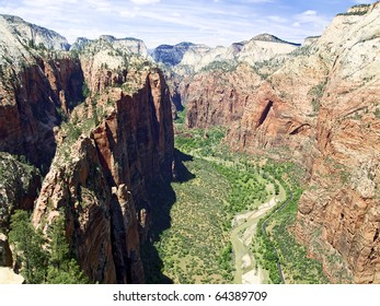 Looking up Zion Canyon from atop Angels Landing, Zion NP, Utah