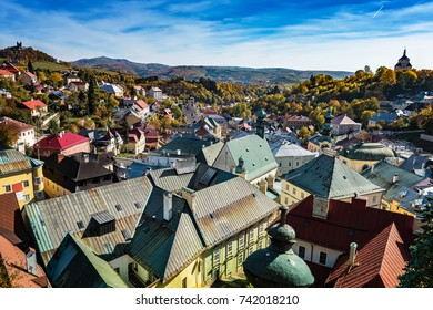 Look-out of balcony of old castle tower in Banska Stiavnica, Slovakia, UNESCO