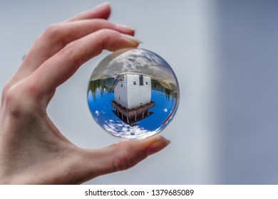 Lookout called Veza in village Velke Borove, Slovakia. Lensball in hand - Shutterstock ID 1379685089