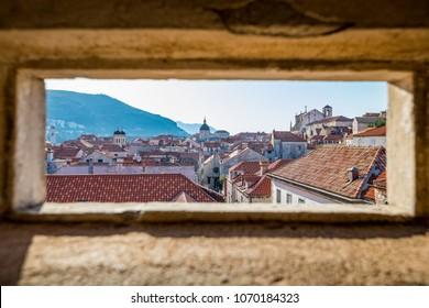 Lookout in the city walls of Dubrovnik, Croatia