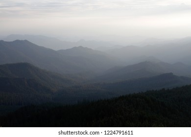 Lookout Creek drainage and West Cascades from Carpenter Mountain fire lookout, H.J. Andrews Experimental Forest, Willamette National Forest, Oregon, USA