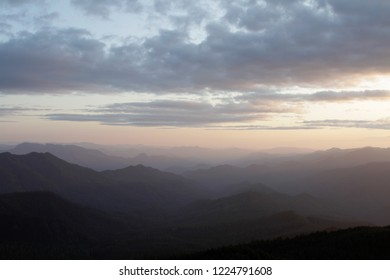Lookout Creek and the West Cascades at sunset, from Carpenter Mountain fire lookout, H.J. Andrews Experimental Forest, Willamette National Forest, Oregon, USA