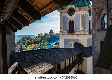 Look-out of historical walls in autumn time in Banska Stiavnica, Slovakia, UNESCO