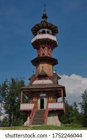 """Look-out """"Jurkovicova rozhledna"""" near the open air museum in Roznov pod Radhostem in Czech republic"""