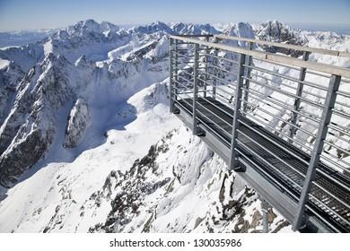 Lookout platform at Lomnicky stit - peak in High Tatras mountains, Slovakia