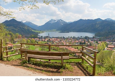 lookout point with bench, above schliersee spa town, upper bavaria