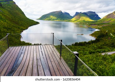 lookout point bridge with mountain and fjord landscape island of Senja arctic circle, Lofoten, Norway