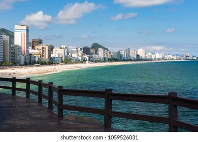 Lookout point to the Ipanema beach at Mirante do Leblon, sandy beach in a hot beautiful sunny summer day, cloudy blue sky, Rio de Janeiro, Brazil.