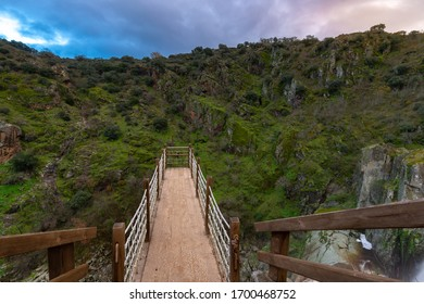 Lookout point of Pozo de los Humos waterfall, Salamanca province, Spain - Shutterstock ID 1700468752