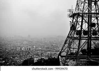 lookout from seoul tower over the smog covered city