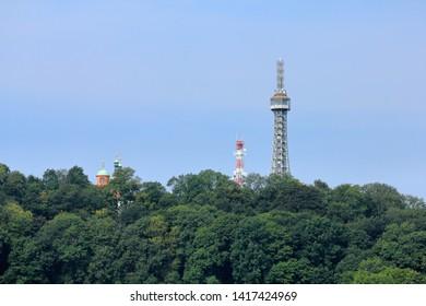 Petrín Lookout Tower (Petrínská rozhledna), Prague (Praha), Czech Republic (Ceská republika);  The Petrín Lookout Tower is a 63.5 meter tall steel-framework tower on Petrín Hill, built in 1891.