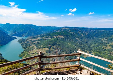"Lookout bańska wall. A view of the lake Perucac. National Park of Serbia ""Tara""."