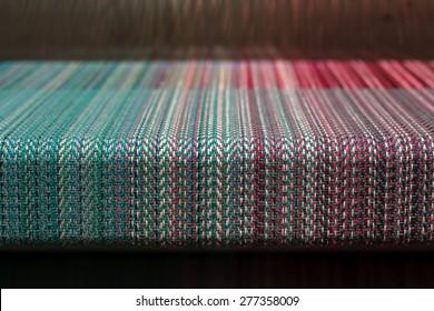 Loom weaving close up shot