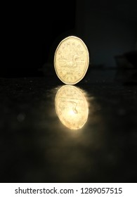 Loonie coin, Canada dollar on back reflection surface.