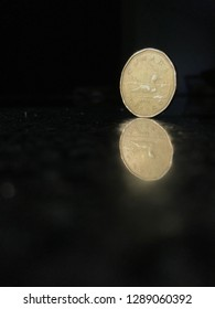 Loonie coin, Canada dollar on back reflection surface off centre close up.