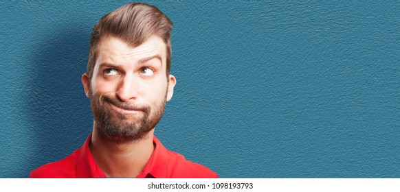loony or mad humorous caricature man. human expressive cartoon concept