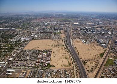 Loop 202 Freeway looking east from Phoenix to Tempe, Arizona