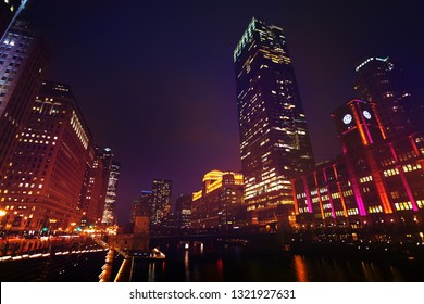 Loop business district at night, Chicago, USA