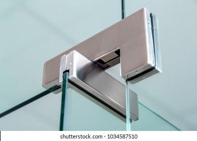 The loop fastening the glass door close-up the mechanism of the door holder & Door Hinge Images Stock Photos \u0026 Vectors | Shutterstock