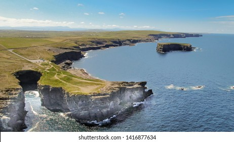 Loop Head at County Clare in Ireland - aerial drone footage - travel photography