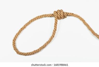 Loop, hemp rope on a white background