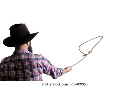 Loop of lasso in the hands of a cowboy, close-up on isolated white background.