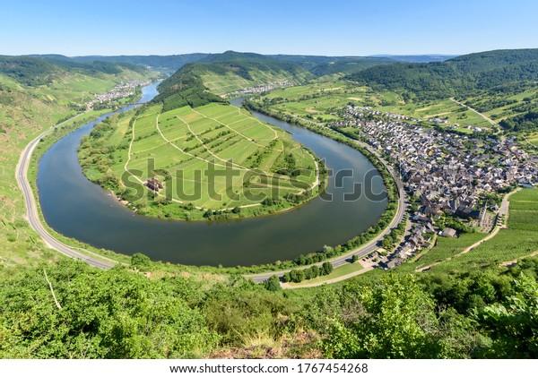 Loop of Moselle River (Moselschleife) in Bremm - Germany