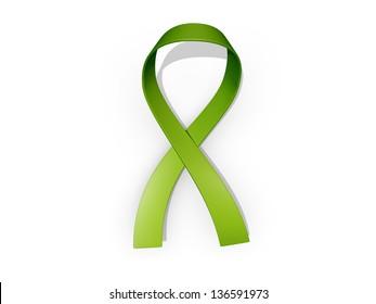 A looped green awareness ribbon
