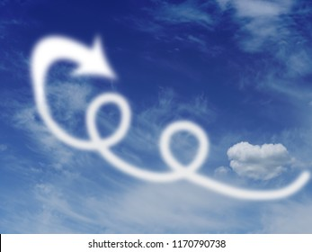 Loops and loopholes in the sky, with clouds and arrow. Escape, fly away concept.
