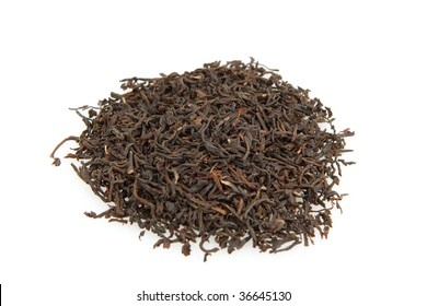 Loose Black tea isolated on white